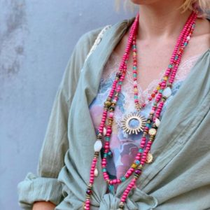 collier multi rangs rose shop in live