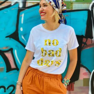 tee shirt no bad days yellow shop in live