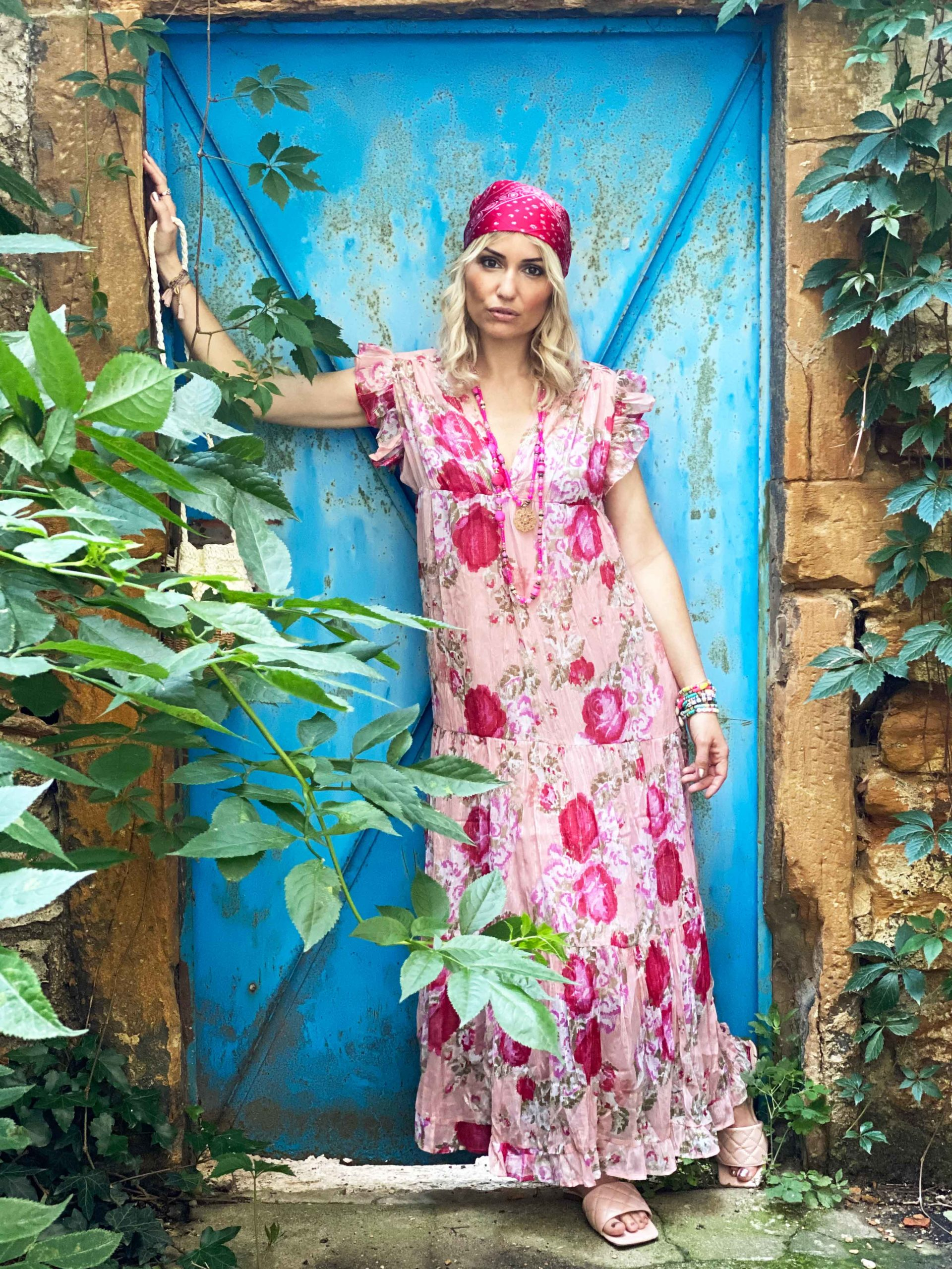 Robe fleurie ALESSIA rose shopinlive