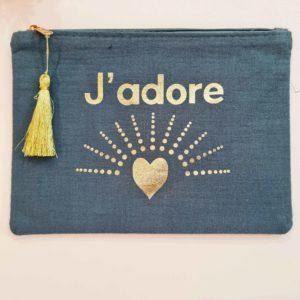 Pochette en tissu J'ADORE bleu canard et doré